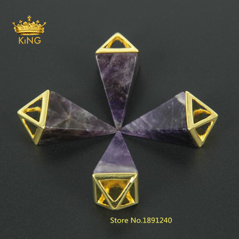Fashion New Natural Purple Ame thyst Triangle Cone Pendant for Necklace Crystals Stone Necklaces & Pendants Lovers Gift FR04