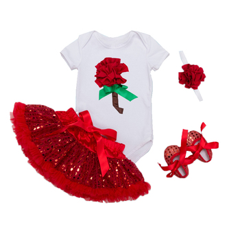 Infant Clothing 4pcs/set White Short Sleeve Rompers Red Tutu Skirt Ruffle Pettiskirt Shoes Headband Baby Girls Clothes 0-2 Years